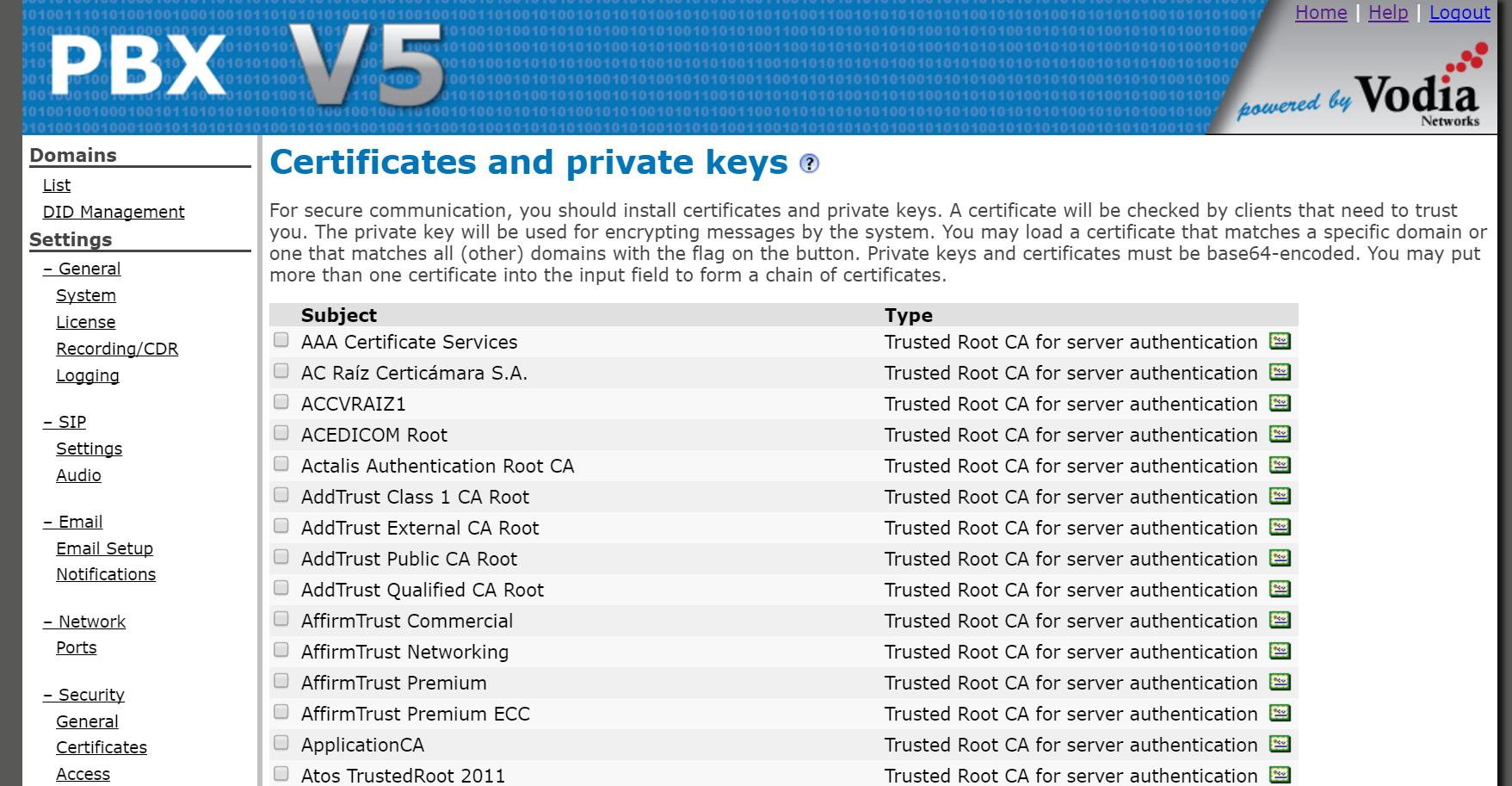 Vodia PBX Software - Certificate list