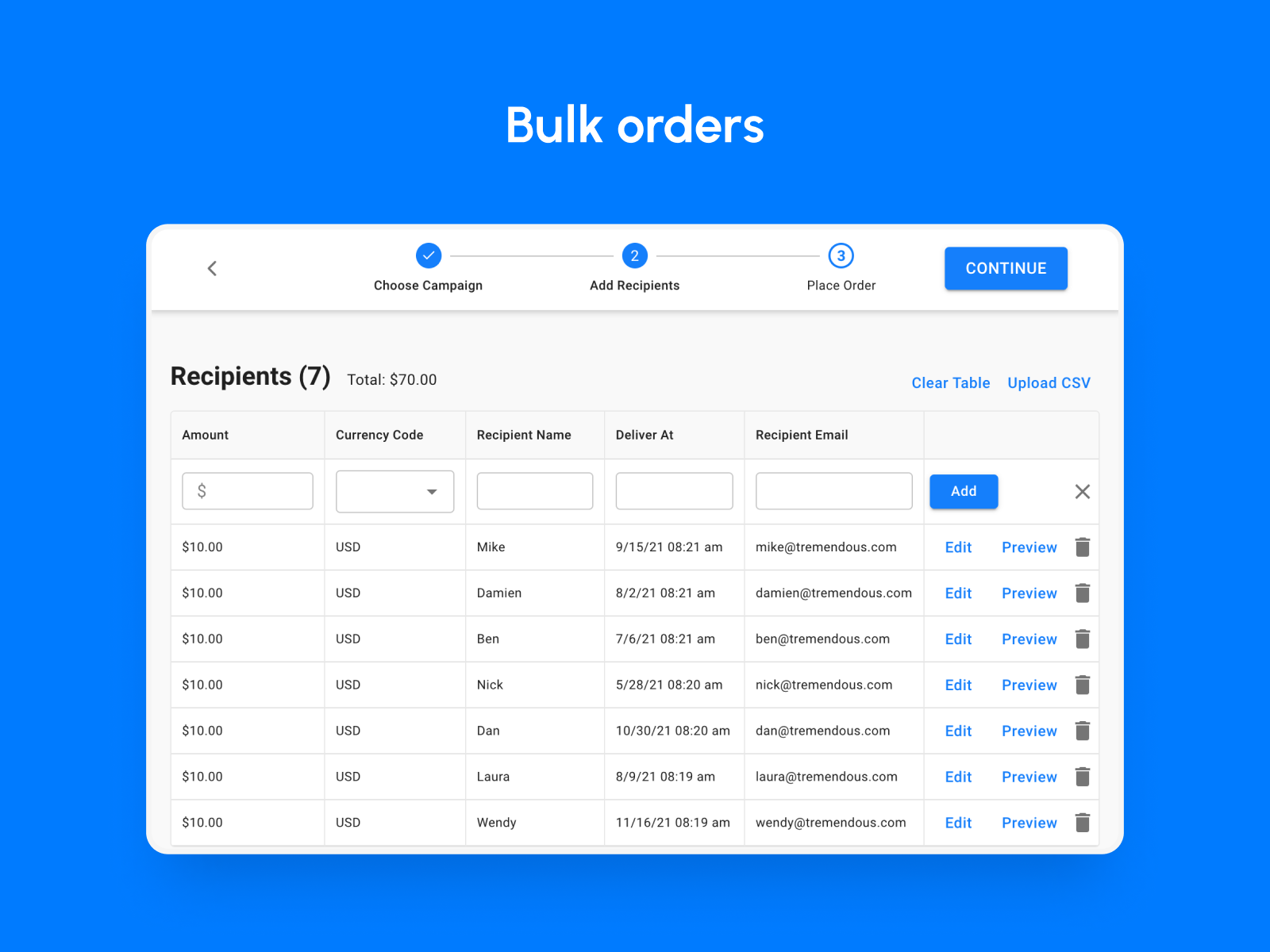 Tremendous Software - Upload a list of recipients and send rewards in bulk.