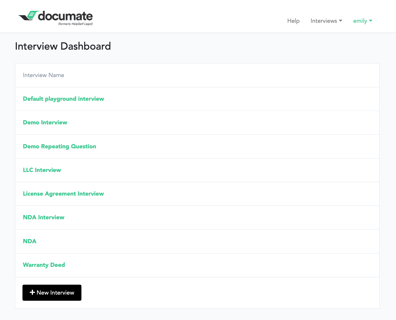 Documate screenshot: Create web-based interview workflows from the Interview Dashboard