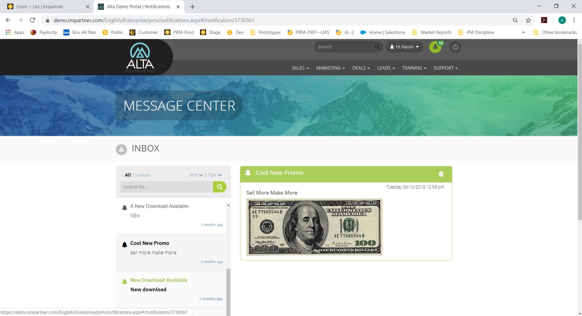 Impartner PRM message center screenshot