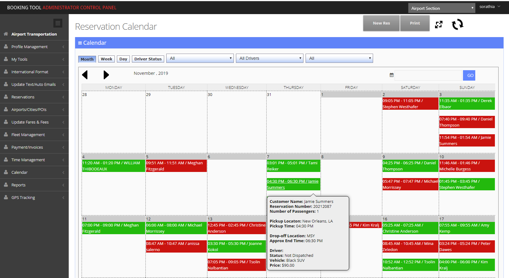 The Booking Tool reservation calendar screenshot