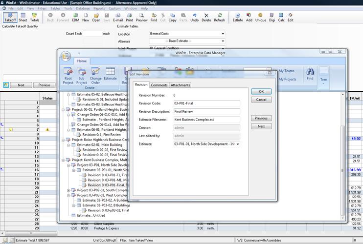 WinEst Software - EDM's estimate-revision log