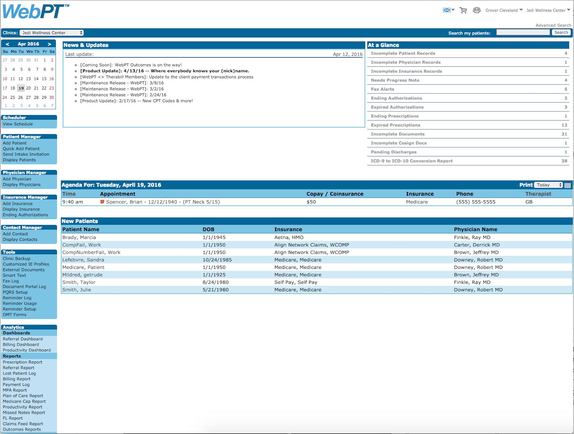 WebPT Dashboard & Daily Agenda