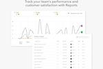 HelpCrunch Screenshot: Team performance and customer satisfaction Reports