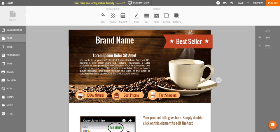 CrazyLister screenshot: Customize eBay templates with CrazyLister's drag-and-drop editor