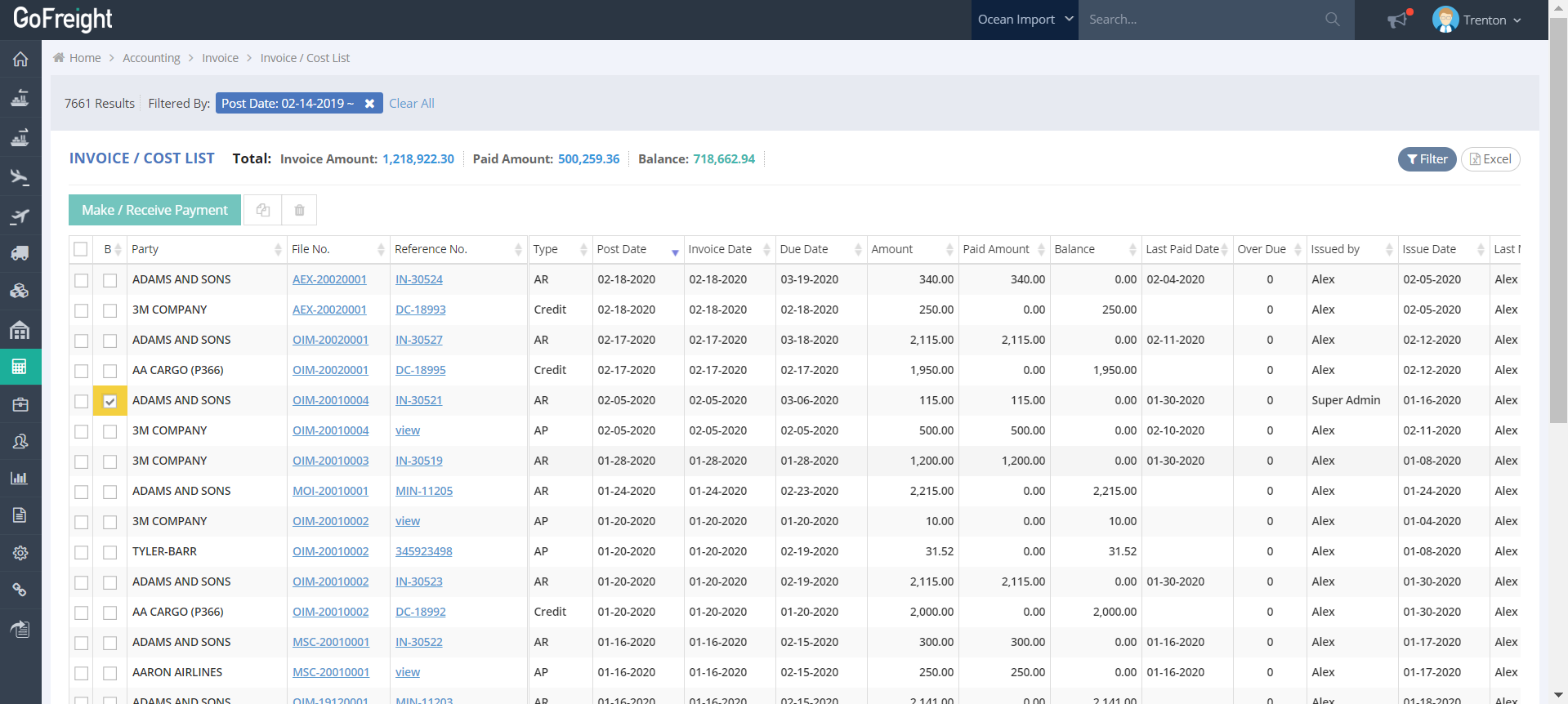 GoFreight Software - GoFreight invoicing
