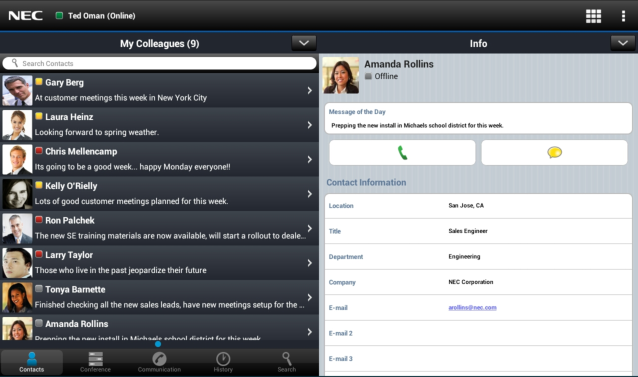 UNIVERGE 3C Software - Client directory