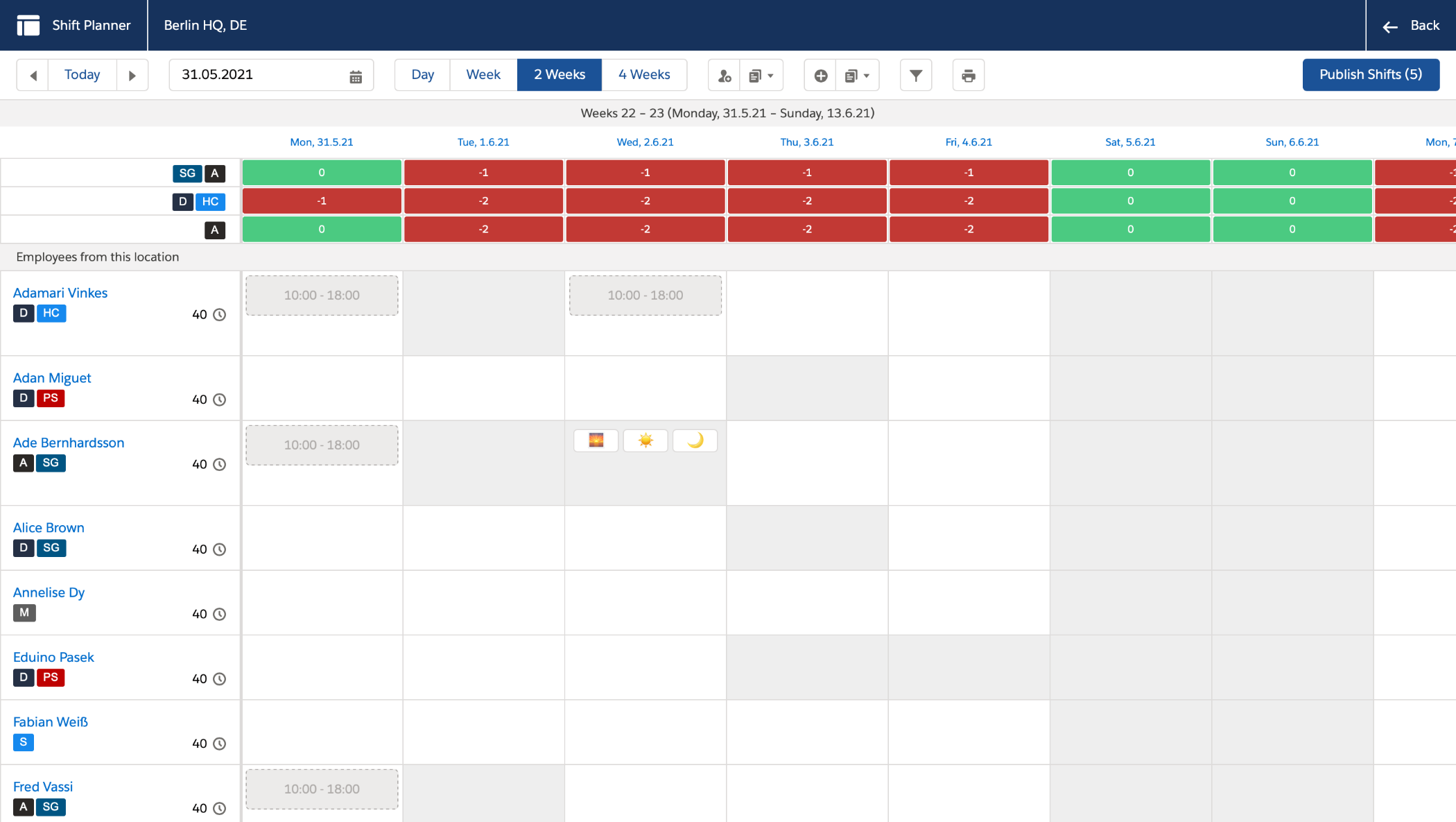 Plan the shifts of your staff to match the demand of each location through flair's customizable and user-friendly shift planner. With our solution employees have control over their work which is critical for employee satisfaction.
