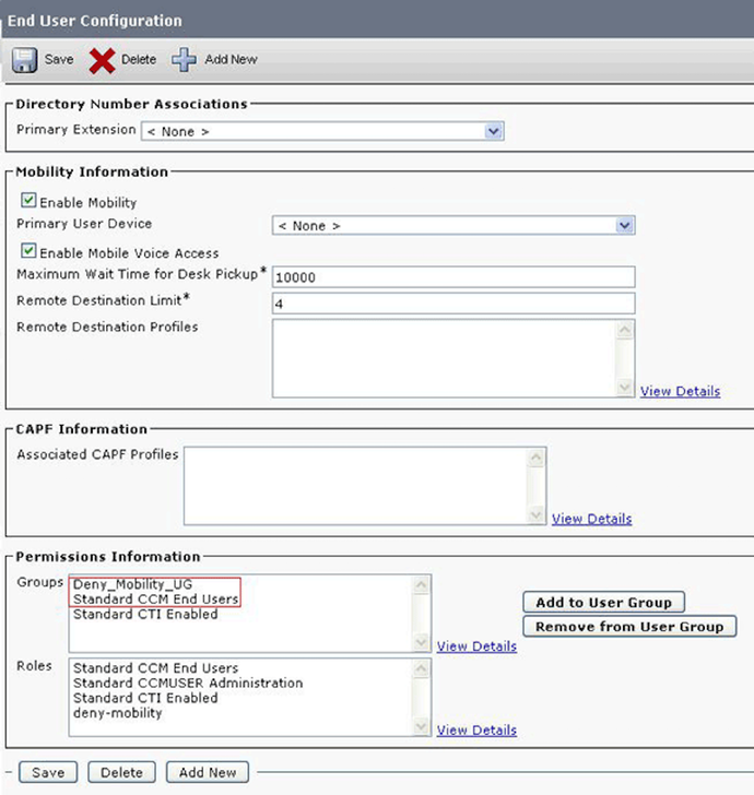 Cisco Unified Communications Manager end-user configuration