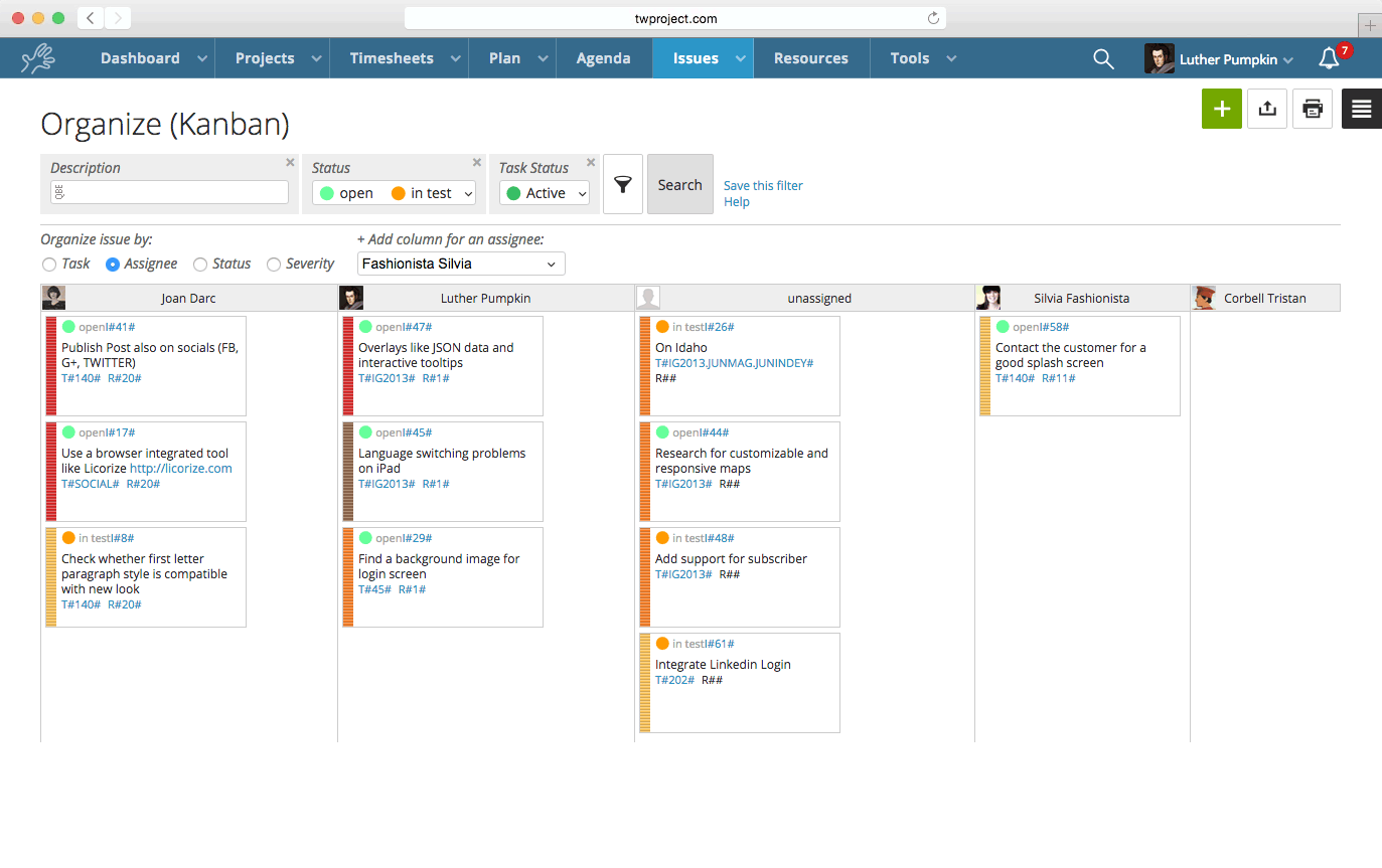 Twproject issue management