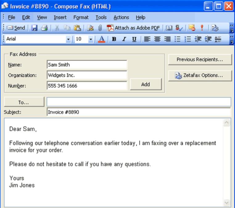 Zetafax invoice generation
