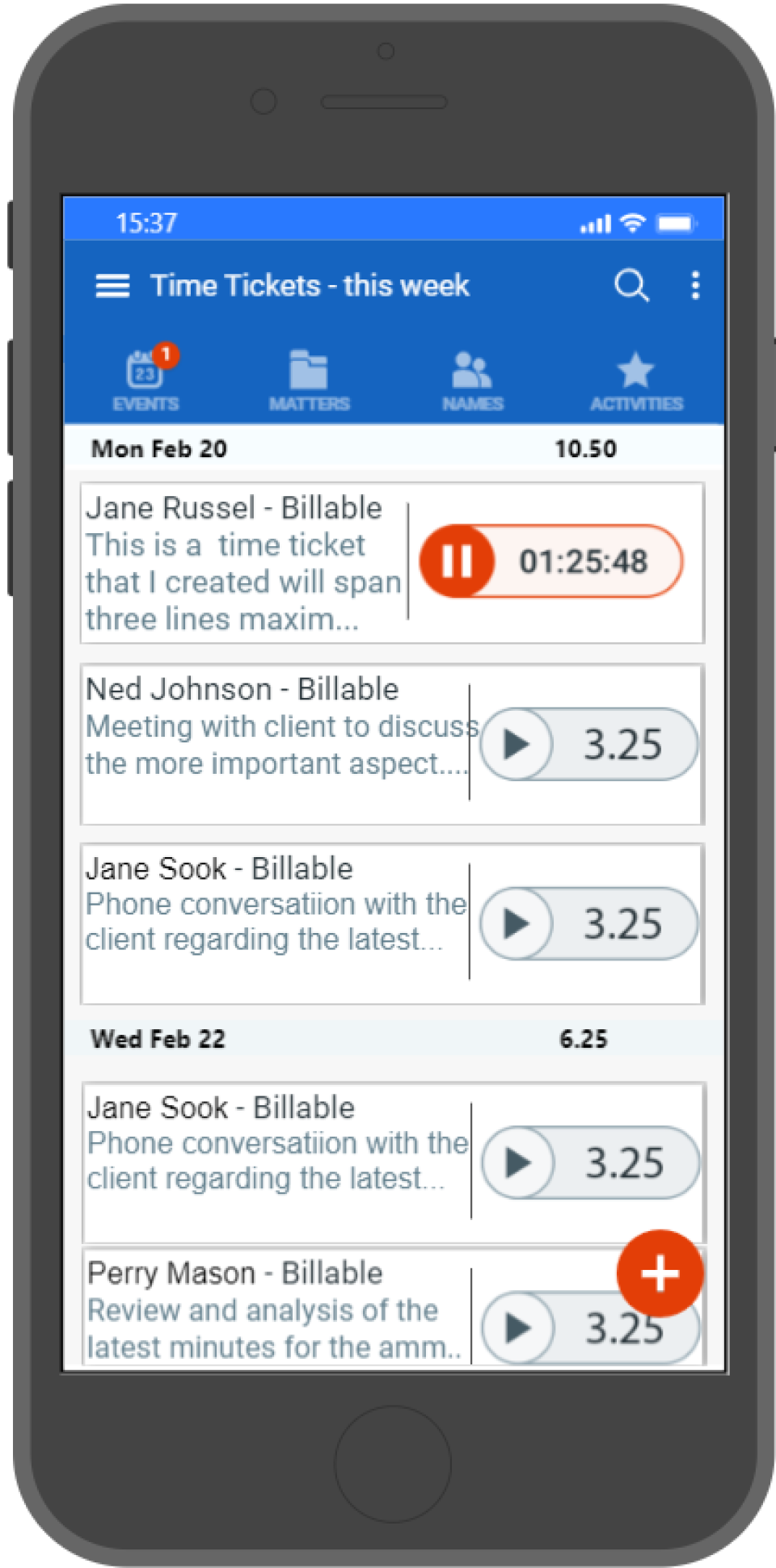 AbacusLaw Software - Mobile Time Ticket