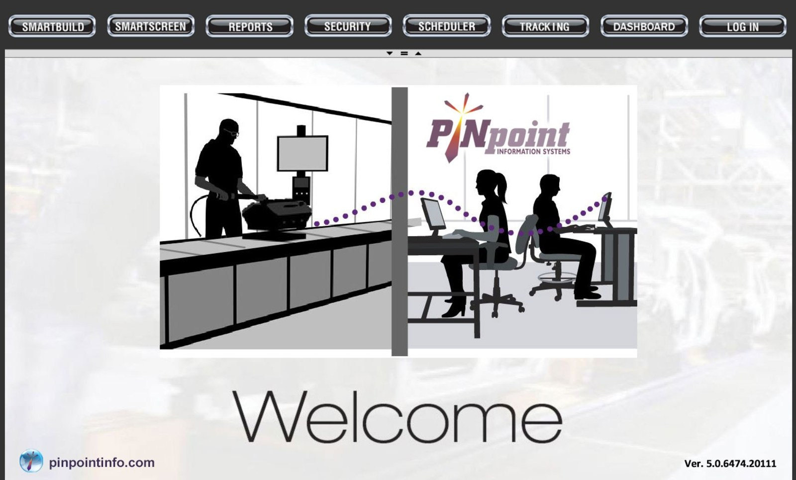 PINpoint V5 MES Welcome Screen (PINpoint Portal/Home Website). The PINpoint Portal features various apps in the top menu; a broad toolset of manufacturing execution tools that's all-encompassing to maximize quality an efficiency.