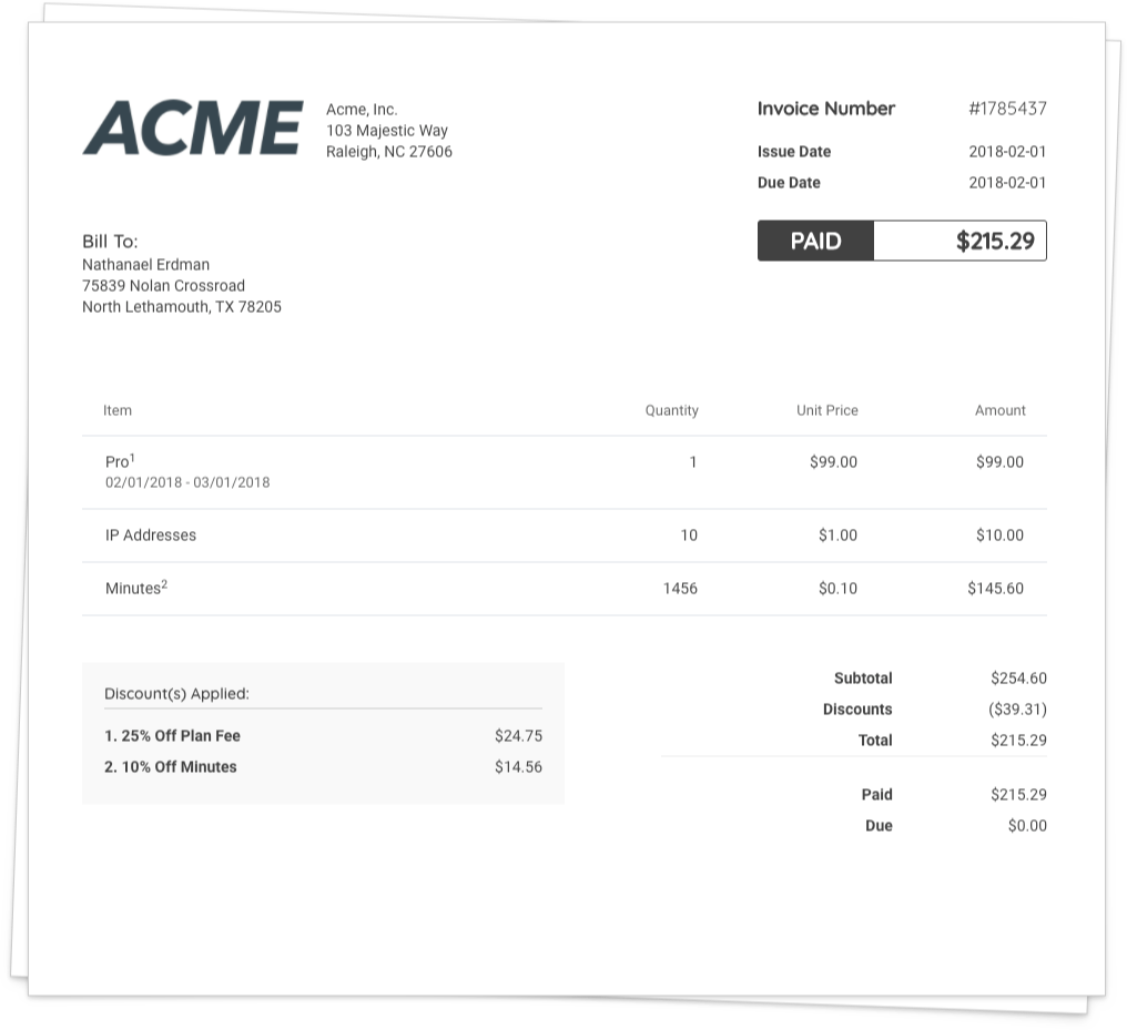 Create customized and branded  invoices to send to clients