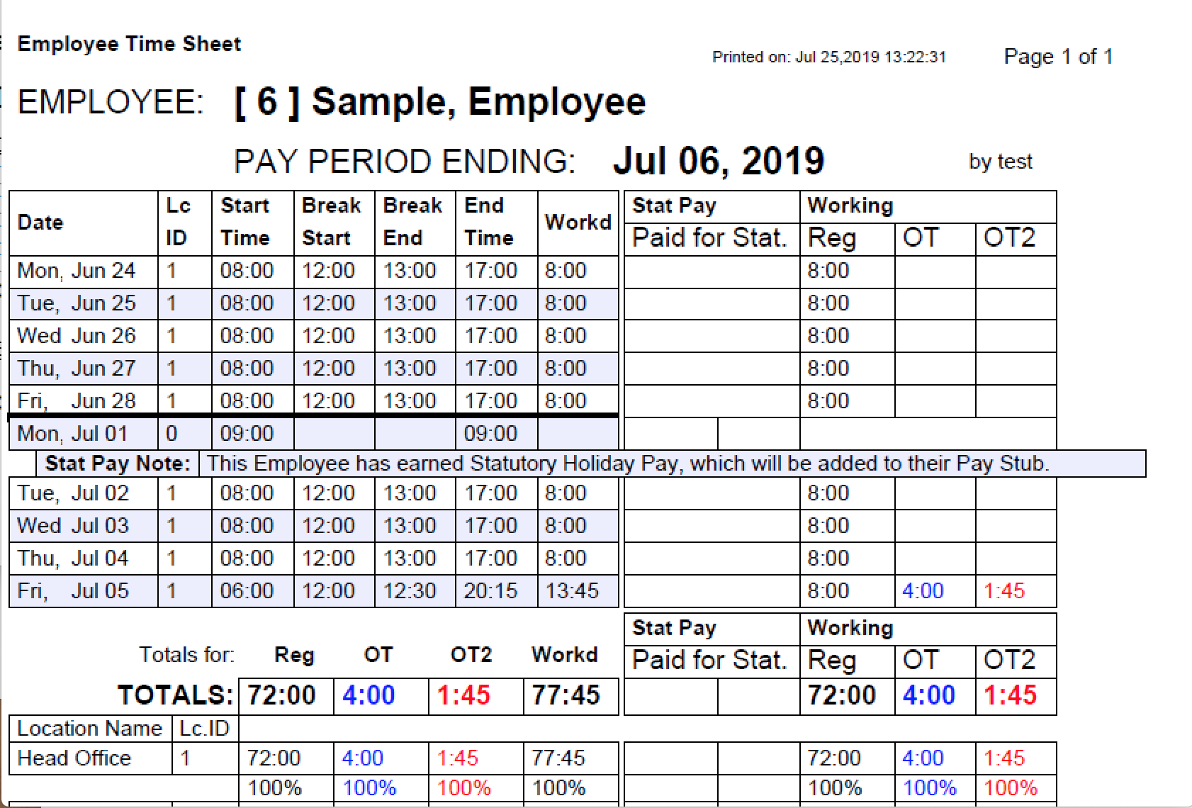 Payroll Connected detailed time sheets