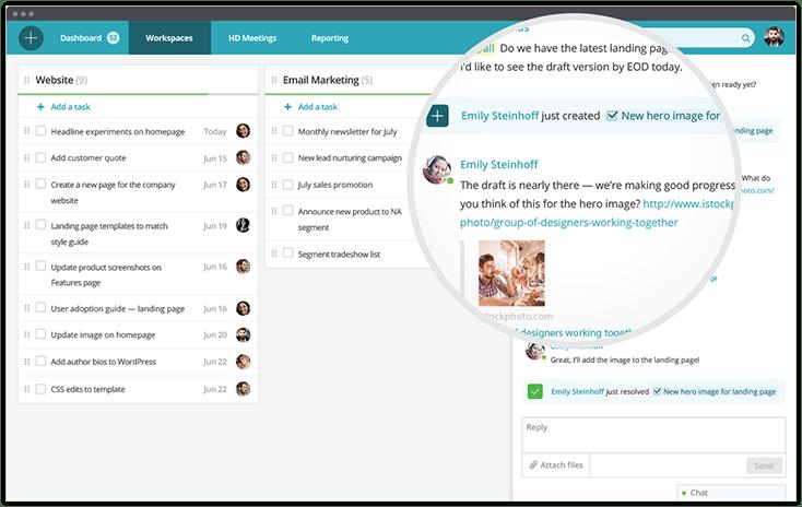 Redbooth screenshot: Team Workspaces