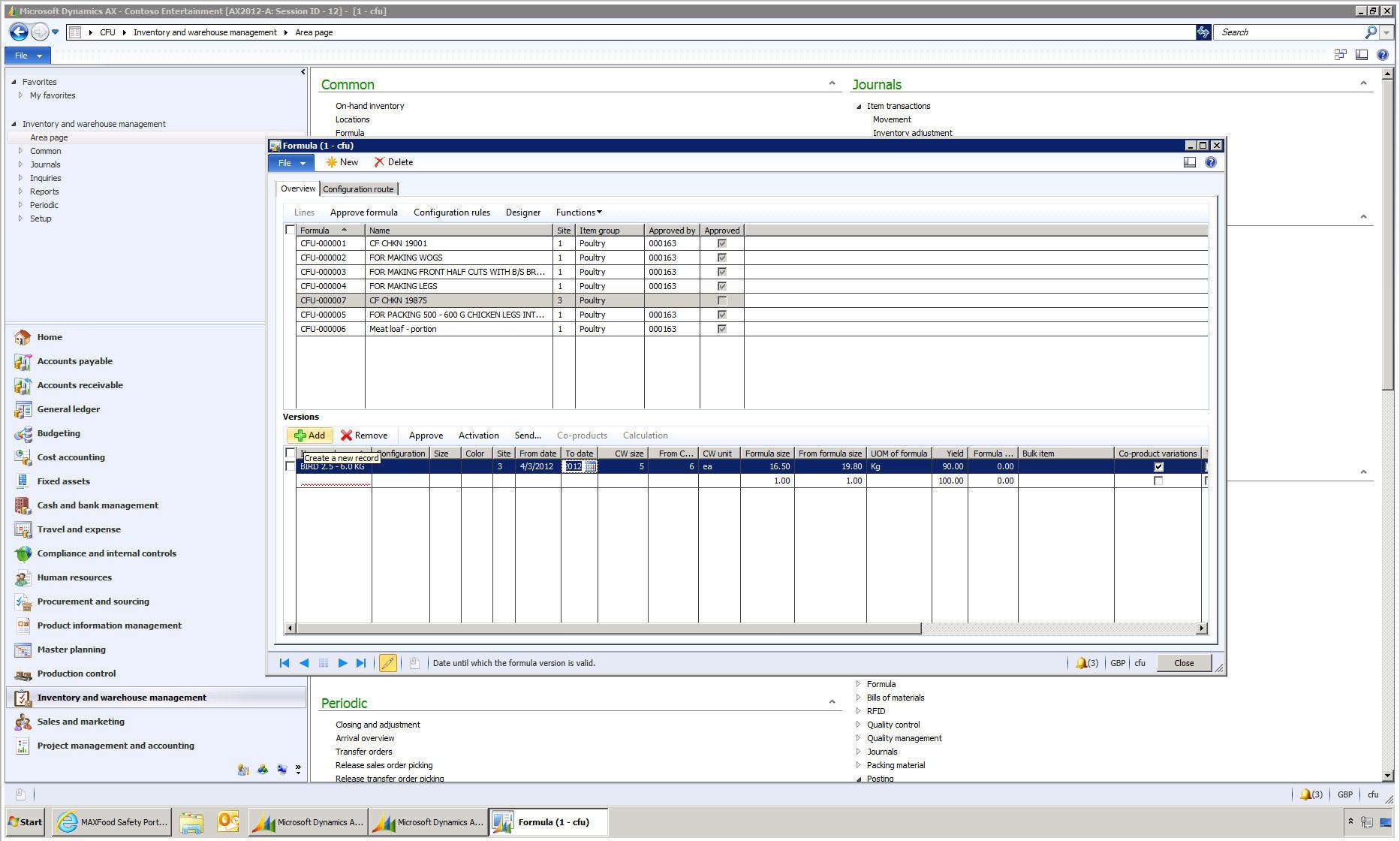 MAXLife ERP Software - Process Manufacturing Formula