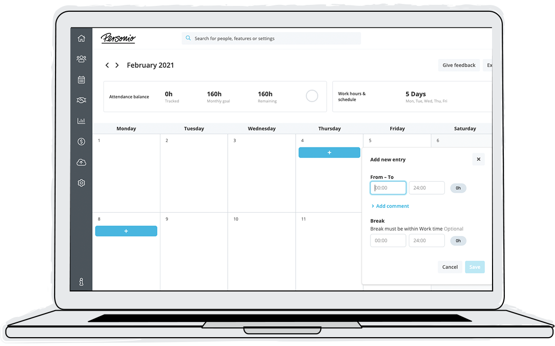 Implement effortless processes and ensure that working hours are calculated correctly. Employees enter their working hours, and supervisors can confirm with the click of a button. Personio reminds managers of pending approvals so nothing is overlooked.