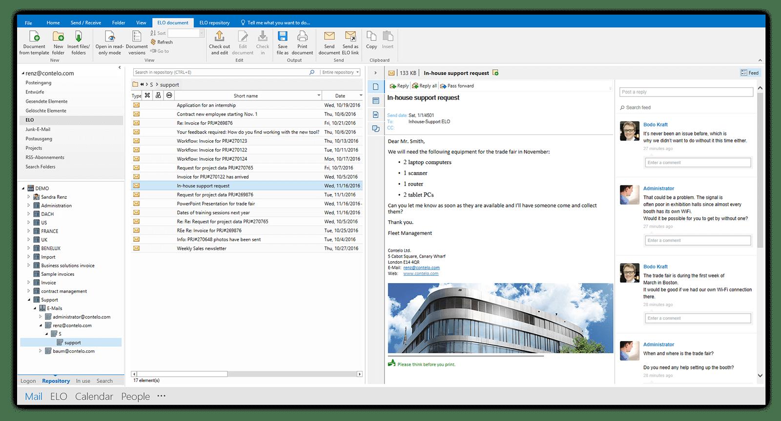 ELO ECM Suite screenshot: ELO ECM Suite email management.