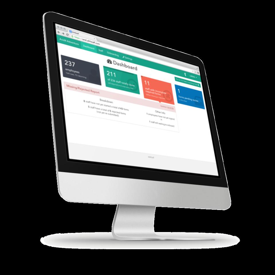 Dashboard-based online interface as shown on desktop Mac computer