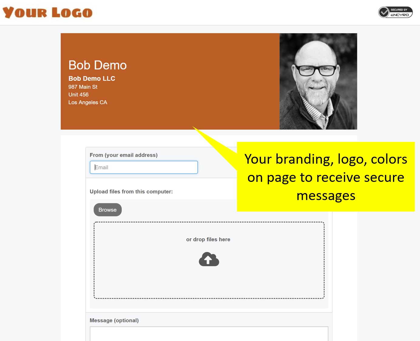 Your custom branding on client facing upload page, email notifications, and e-signature page