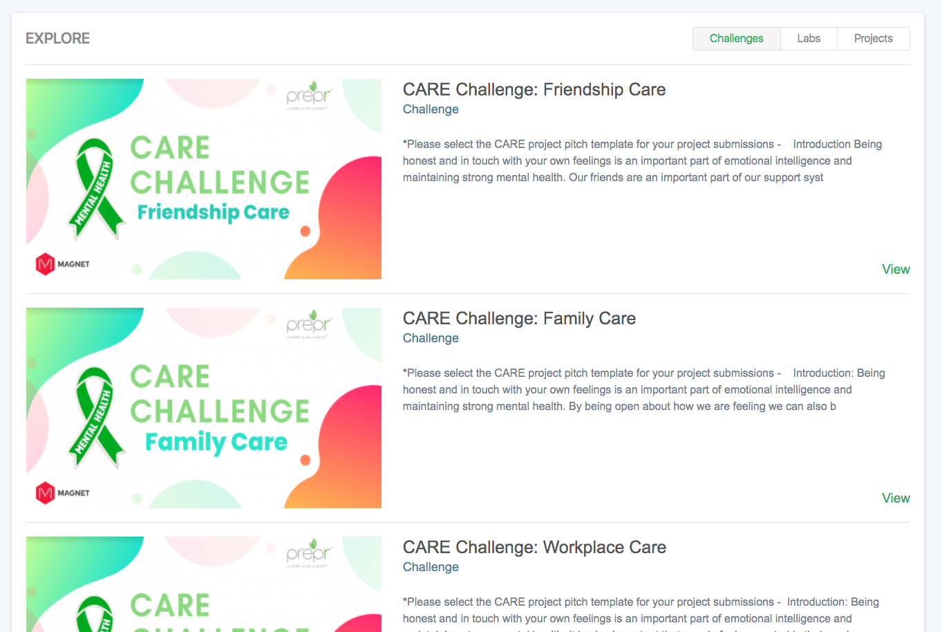 Explore Labs, Challenges and Resources across the Organization. Set them to be public or private and invite internal teams and external collaborators.