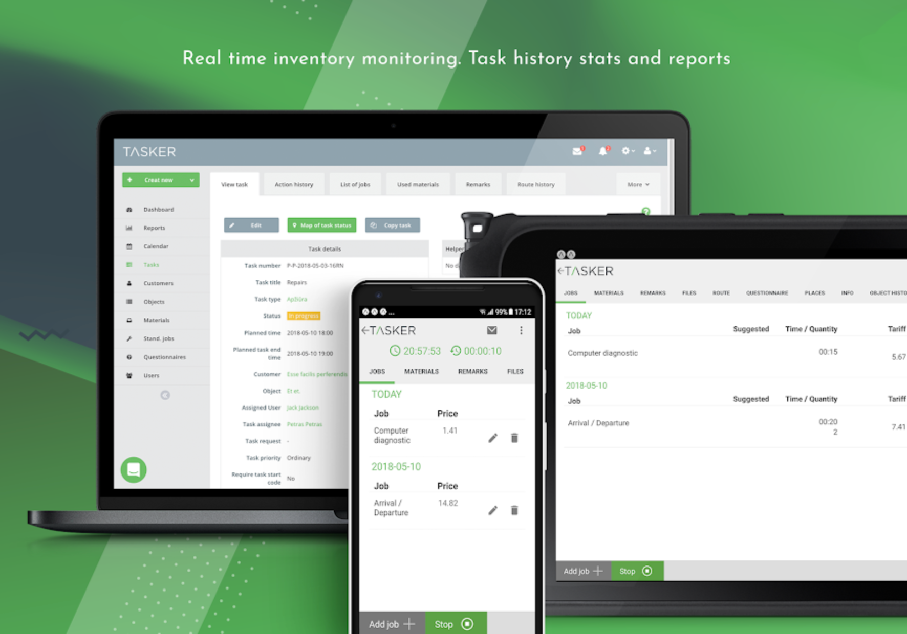 View real-time inventory monitoring and track history stats and reports via any device