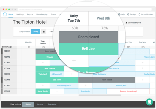 Blocking off rooms will update room availability and reflect correctly on occupancy reports