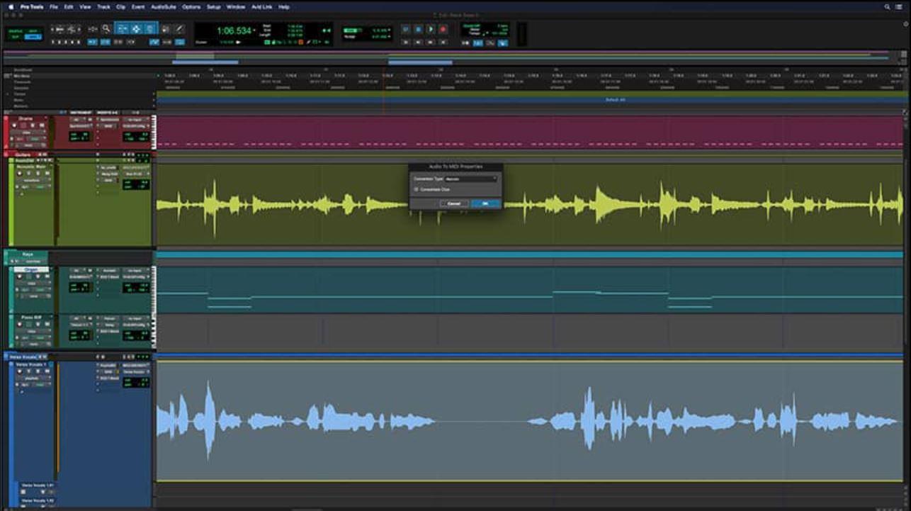 Pro Tools audio to MIDI conversion