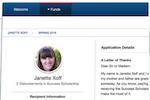 Blackbaud Award Management screenshot: Blackbaud Award Management student profile screenshot