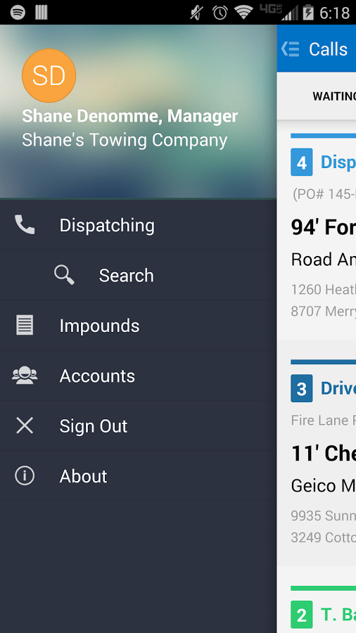Towbook Management Software screenshot: Towbook's native iOS and Android apps can be used by drivers, dispatchers, and managers