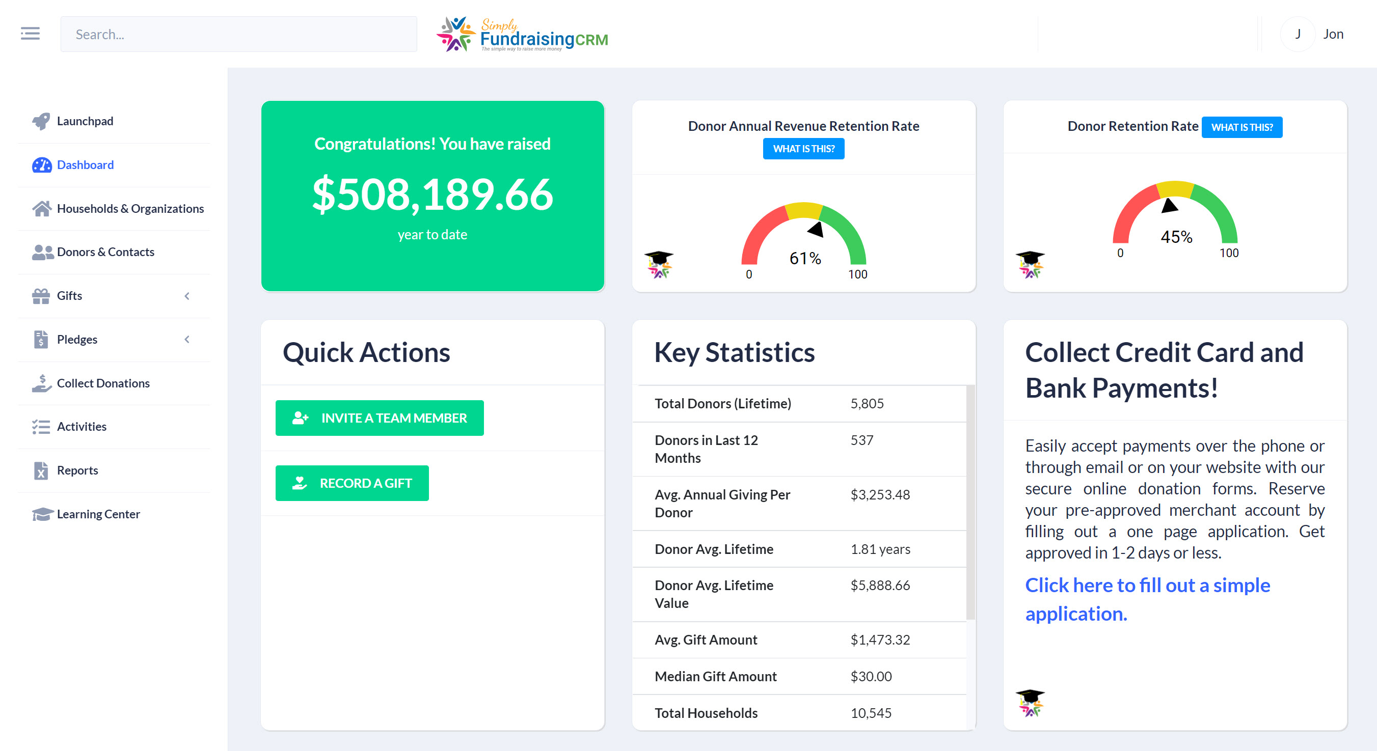 The sharable Dashboard gives insight into everything you need to know for day-to-day fundraising as well as upcoming board meetings.