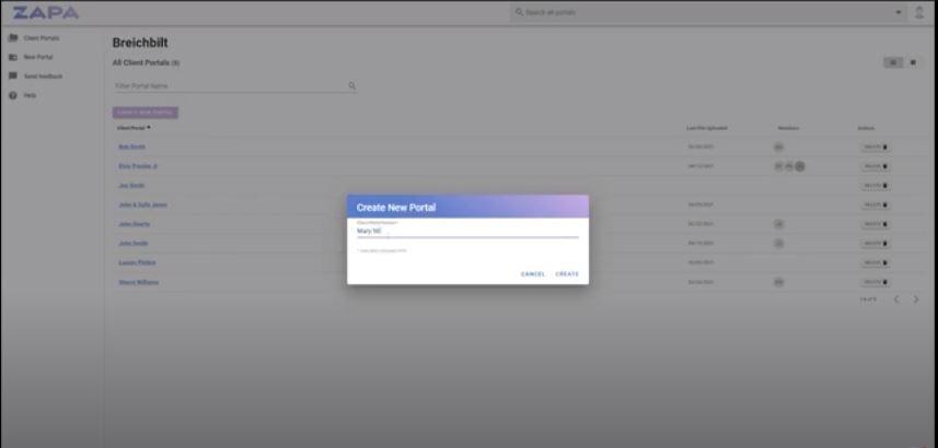 Zapa Client Portals new portal creation