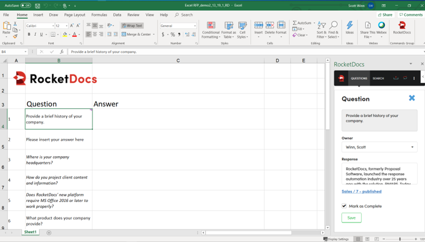 RocketDocs Microsoft Excel Launchpad Add-In