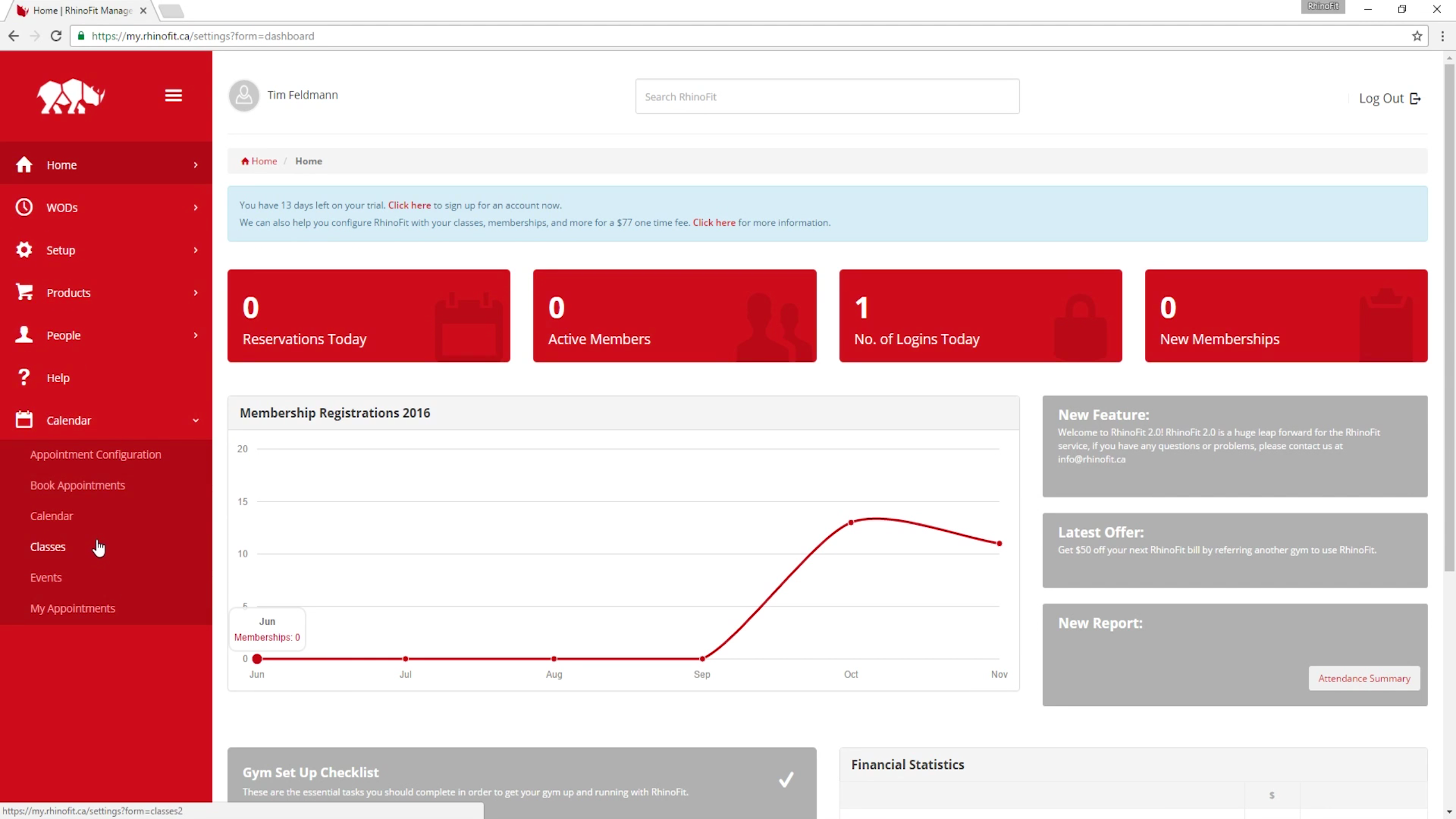 The home dashboard provides easy access to the main functions and a quick view data summary of key business data