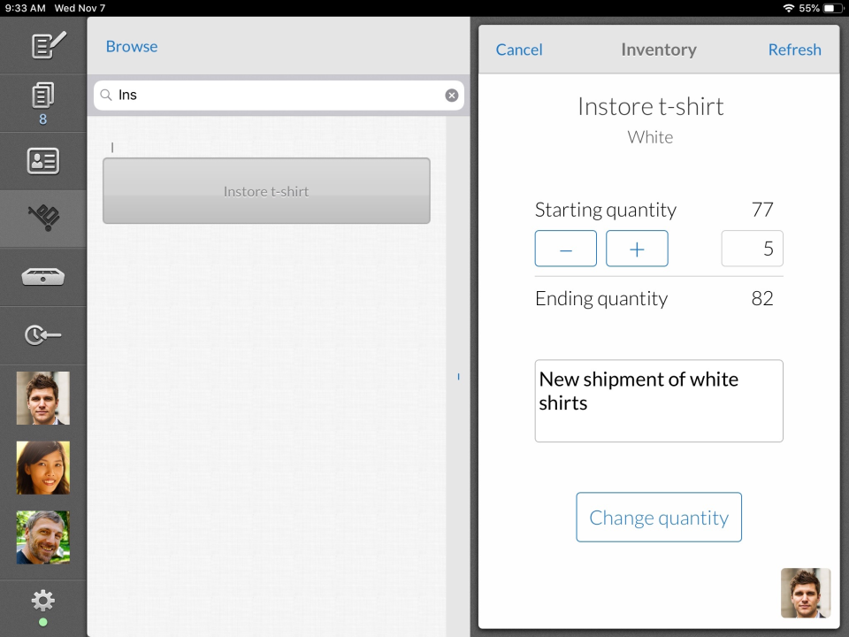Inventory can be tracked, managed and adjusted