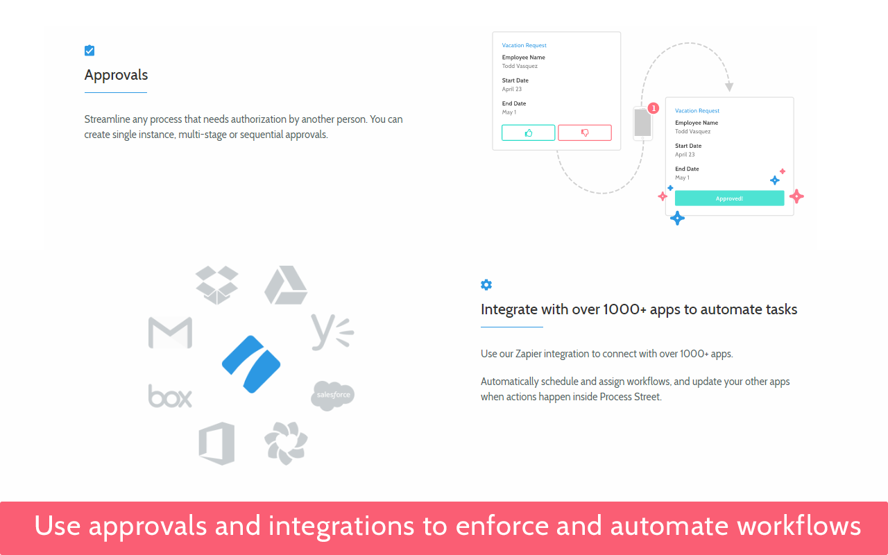Use approvals and integrations to enforce and automate workflows