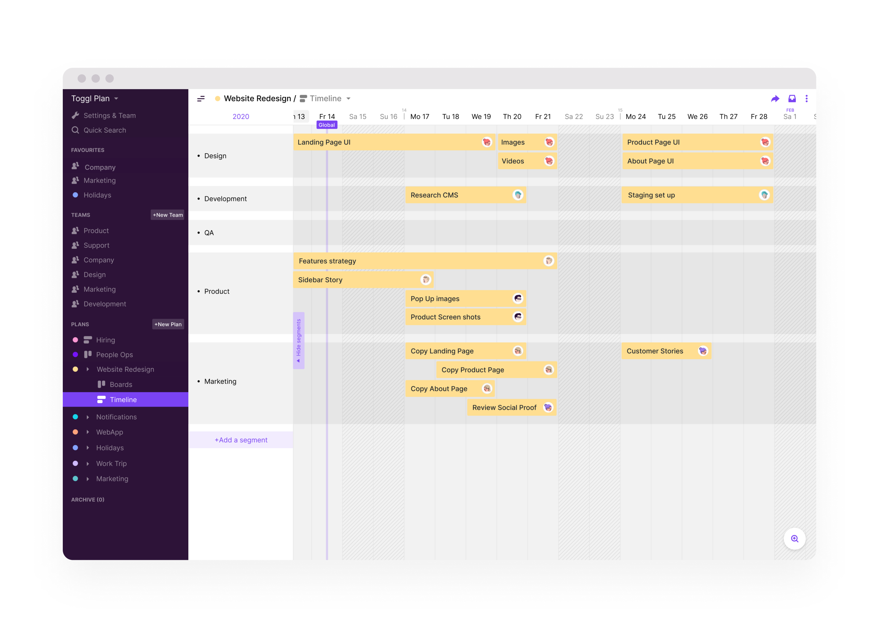Project timeline - plan project steps on a colorful timeline and have a clear overview of when things need to be done. Change of plans? The simple drag-and-drop interface makes flexible planning easy.