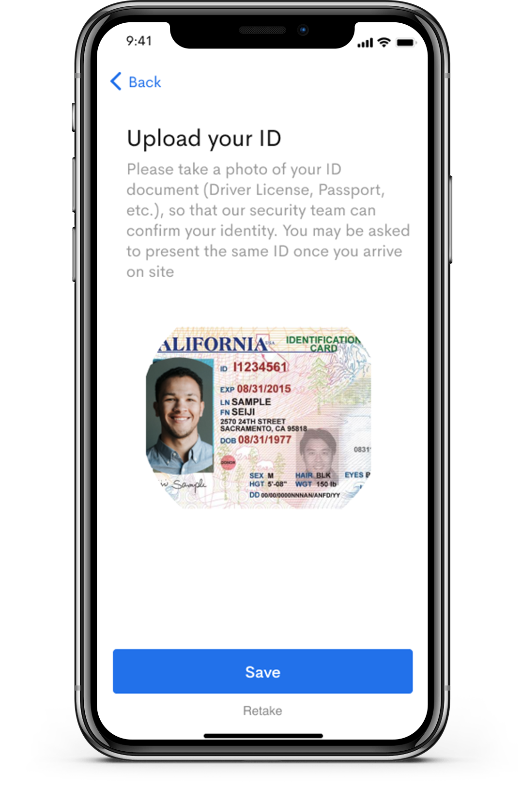 Visitor Management requires guests to upload an ID for secure identification.