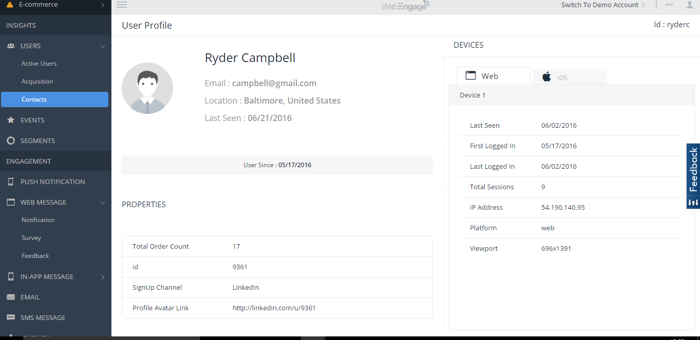 WebEngage Software - User profile
