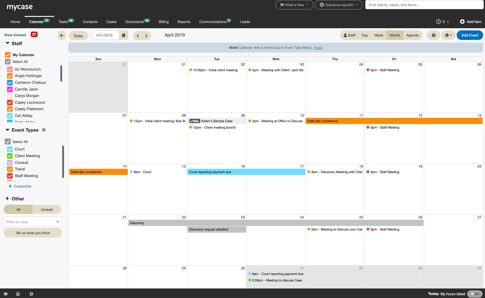 MyCase Software - MyCase Calendar