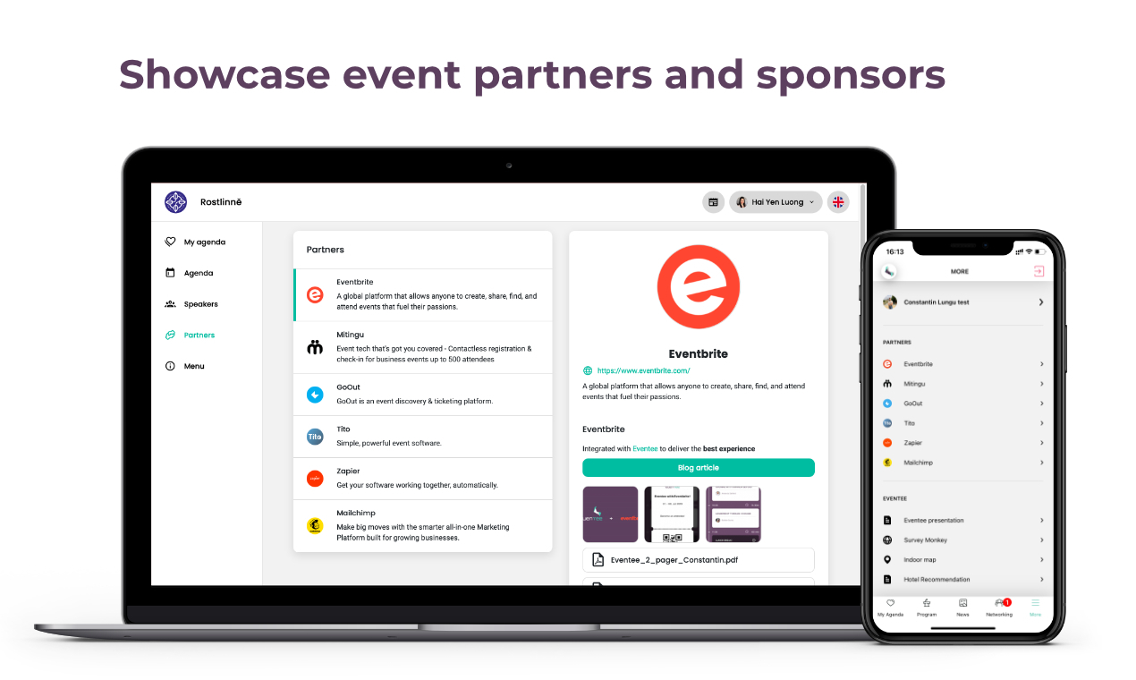 Customizable partner profiles with active elements, images, and files. A quick touchpoint between your partners and attendees.