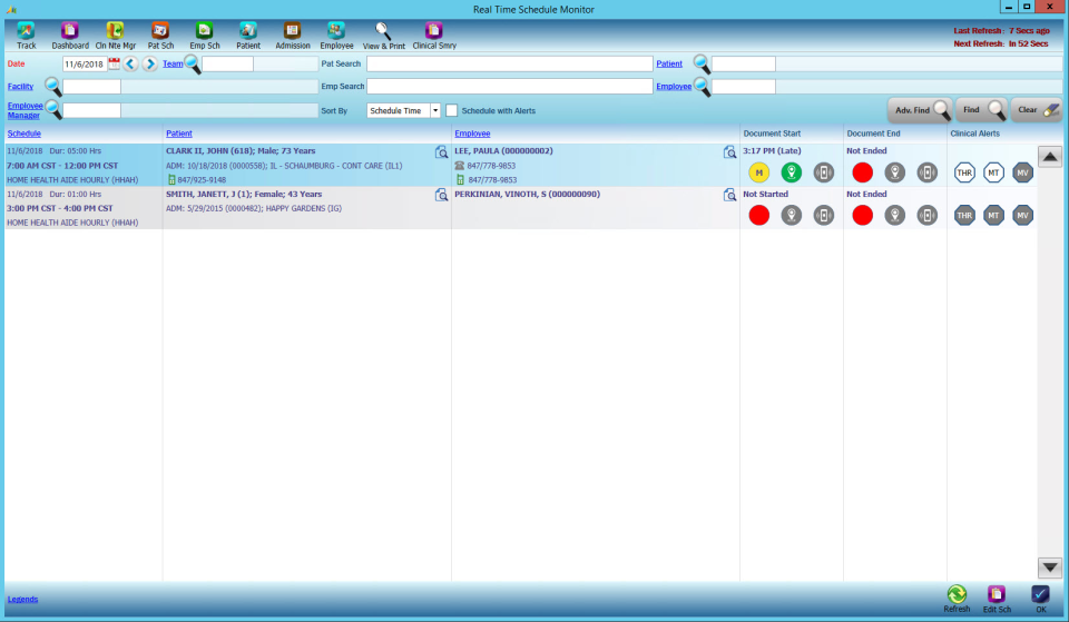 CareVoyant schedule monitor