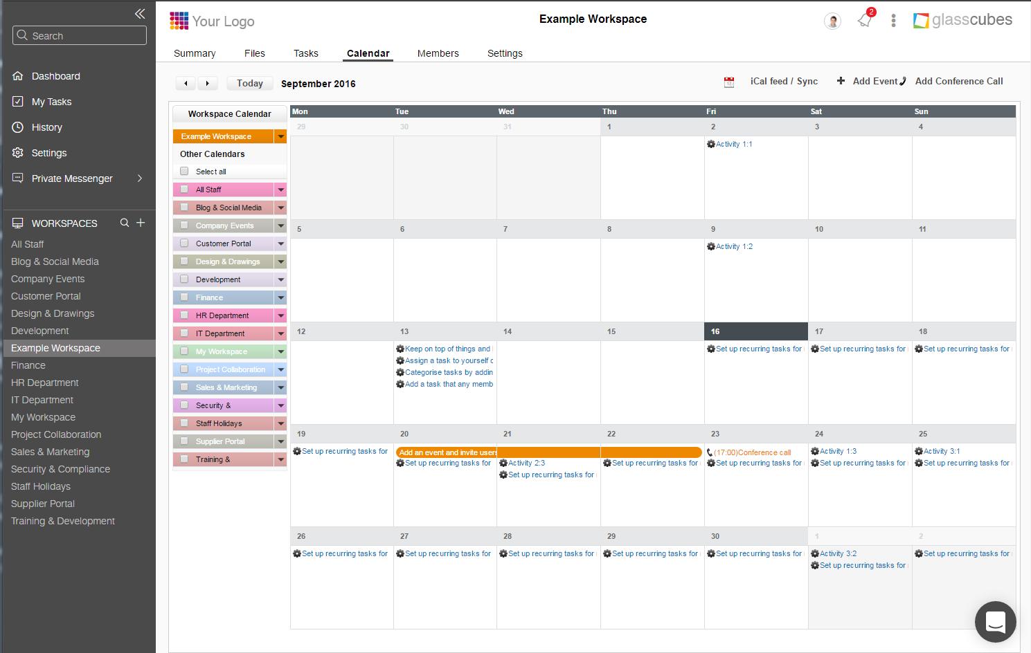 Glasscubes Software - Glasscubes Shared calendars