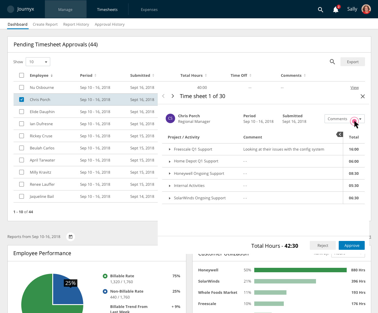 Manager approval dashboard