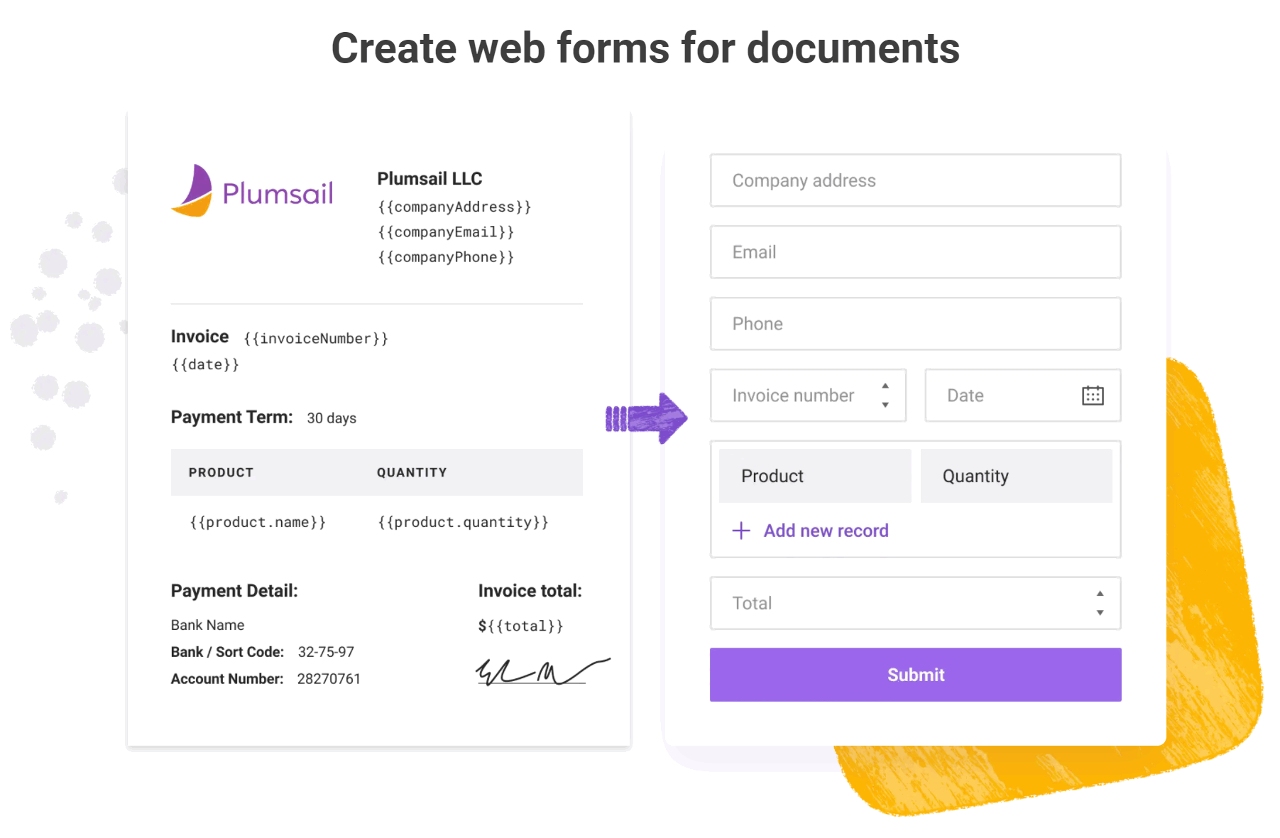 Create web forms for documents