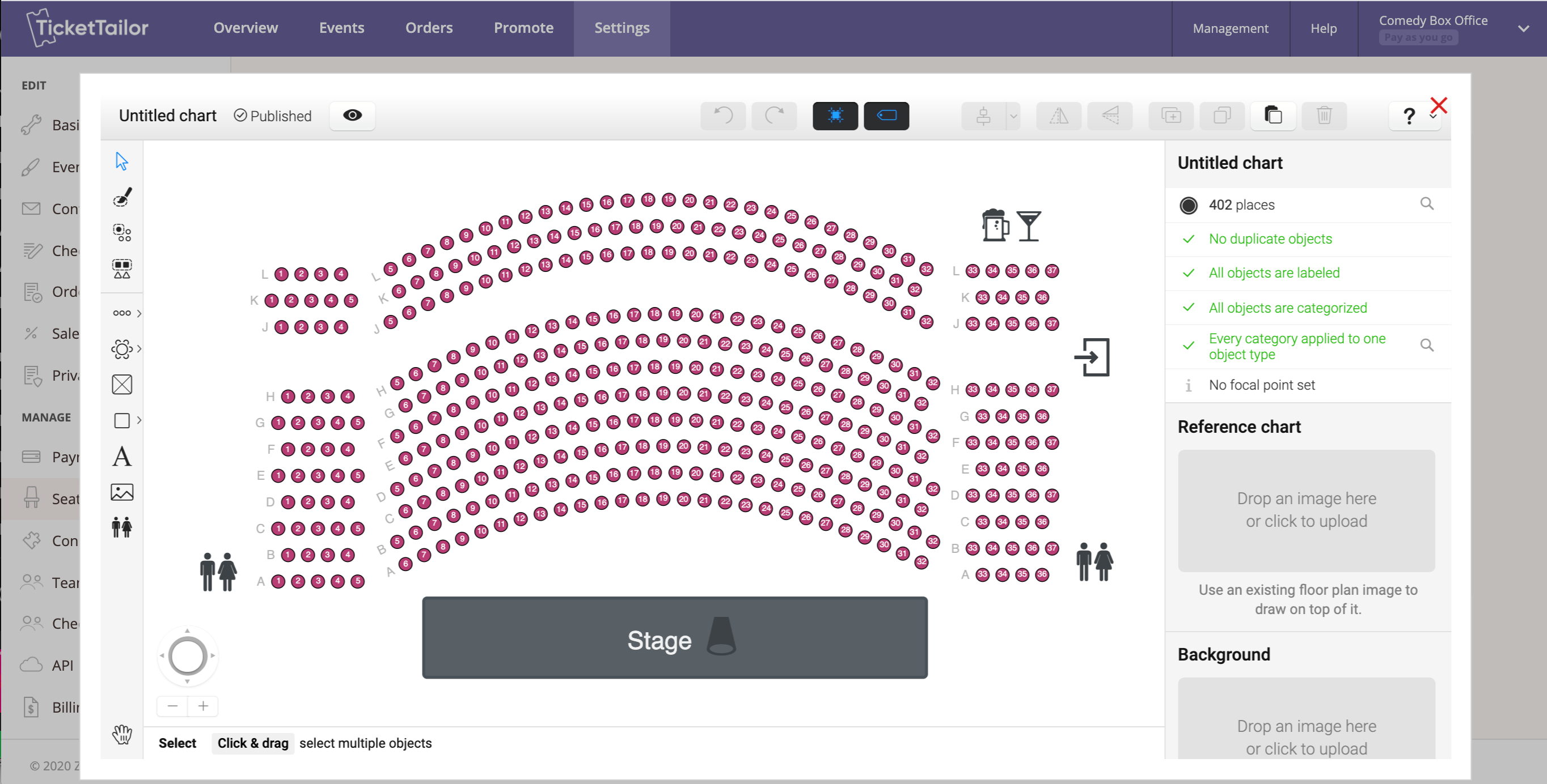 Create seating charts in minutes. From dinner galas, to the theatres and stadiums. Automate social distancing rules, avoid orphan seats and add images to bring seating chart to life.