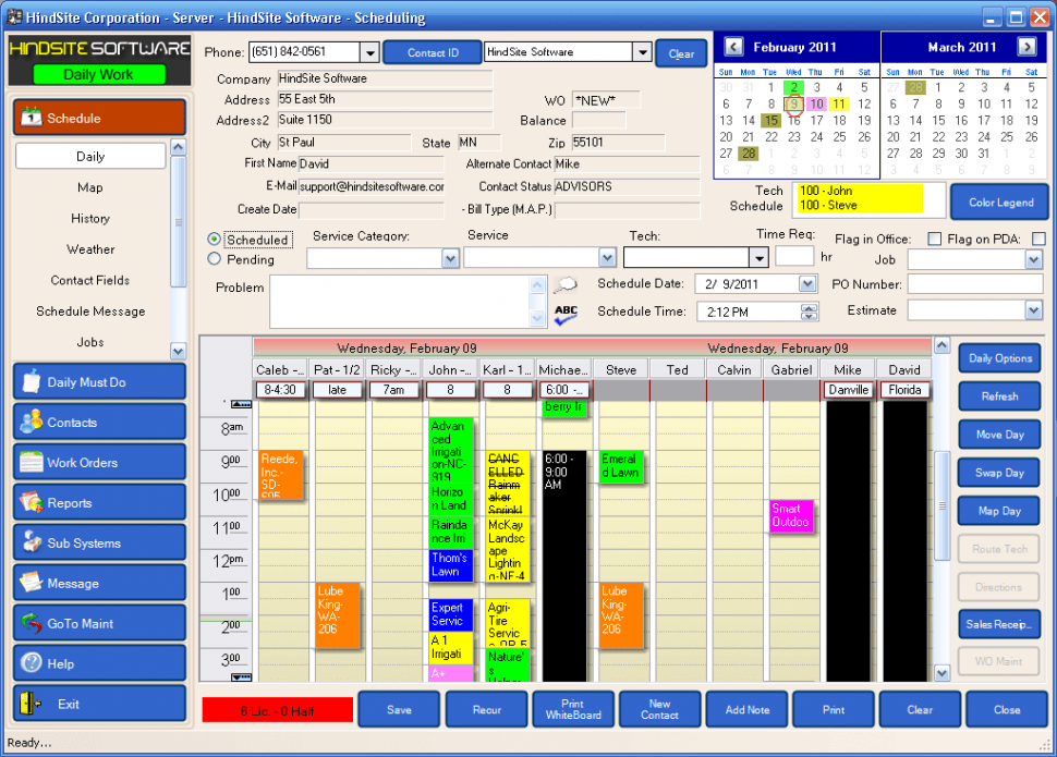 The HindSite Solution Software - Scheduling screen