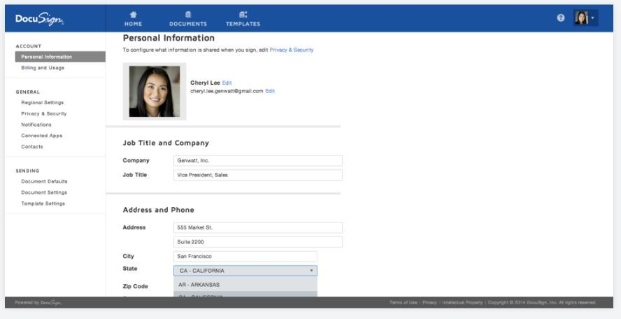 DocuSign personal information