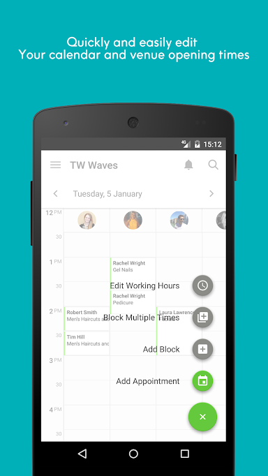 Edit the calendar, salon opening times, price lists, and more within the app